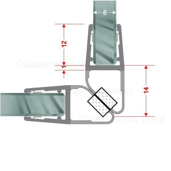 Magnetdichtungsprofil 90° (Paar) für 6-8mm Glas