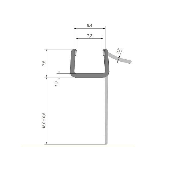 Wasserabweisprofil für 8mm Glas, extra lange Fahne, kurzer Schwaller