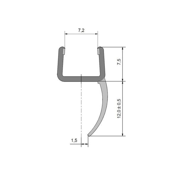 Mitteldichtprofil (senkrechte Lippe) für 8mm Glas