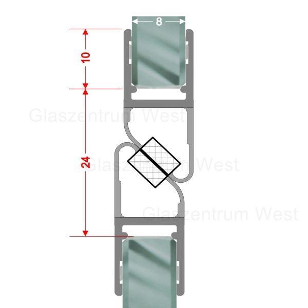 Magnetdichtungsprofil 180° (Paar) für 6-8mm Glas geeignet für Anschlagtüren,Nischenduschen