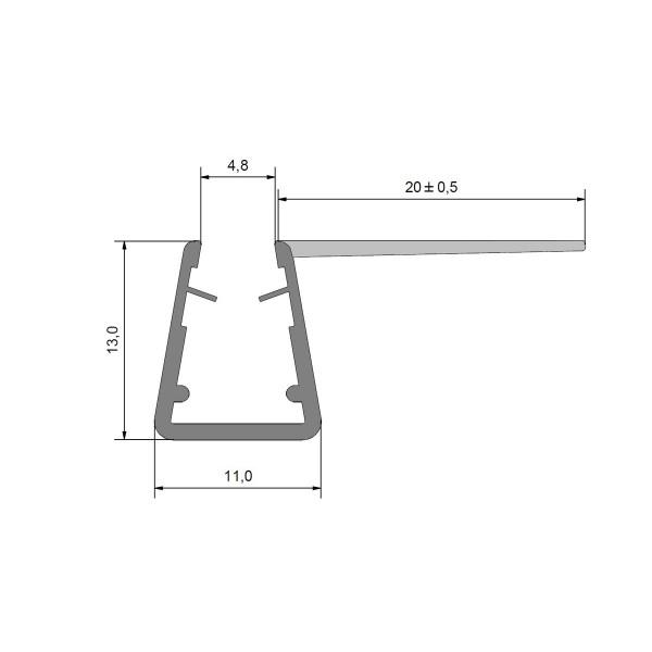 Duschdichtung Dichtprofil Eckanschlagprofil 90 ° für 5-6 mm Glas Duschen, 2010mm