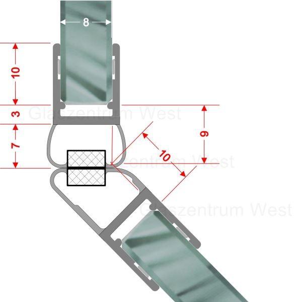Magnetdichtungsprofil 135° (Paar) für 6-8mm Glas