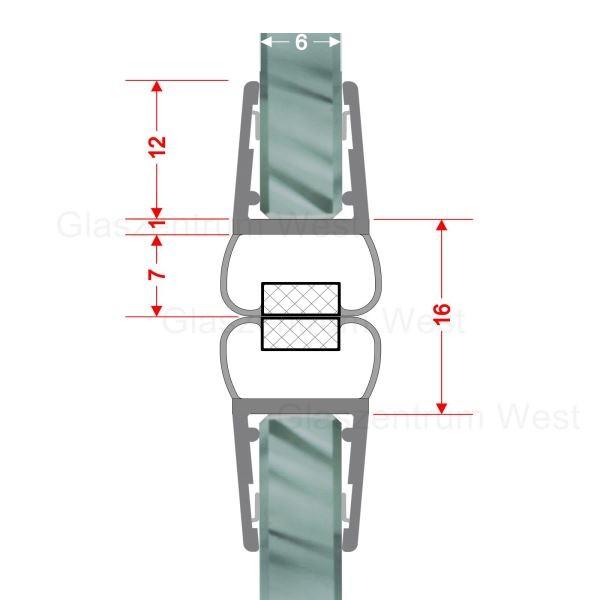 Magnetdichtungsprofil 180° (Paar) für 6-8mm Glas geeignet für Pendeltüren und Rundduschen
