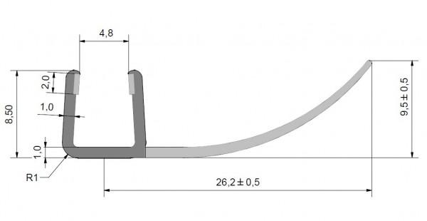 Streifdichtung, Anschlagdichtung, Ersatzdichtung, Duschdichtung für 5-6mm Glas Duschen, extra lange