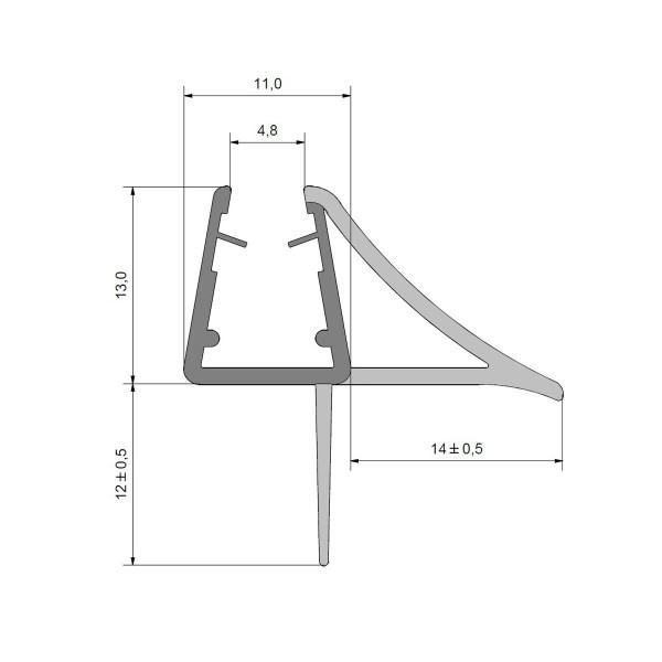 Streifdichtung mit Schwallschutz stabil für Glasstärken 5-8mm