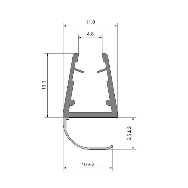 Streifdichtung Duschdichtung für 5-8mm Glas Duschen, für enges Spaltmaß transparent, offener Balg, 2