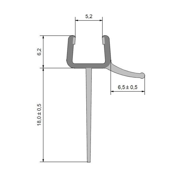 Wasserabweisprofil Duschdichtung lange Fahne, kurzer Glaseinstand für 6mm