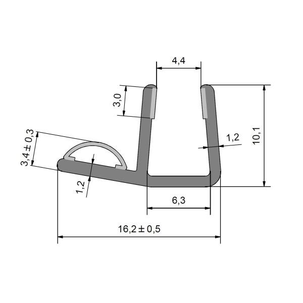 Streifdichtung, Anschlagdichtung, Ersatzdichtung, Duschdichtung für 5-6mm Glas Duschen, für innen öf